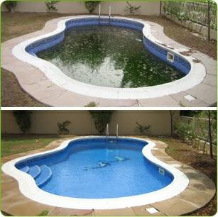 algae infested pool, turned clean from green with treatment.