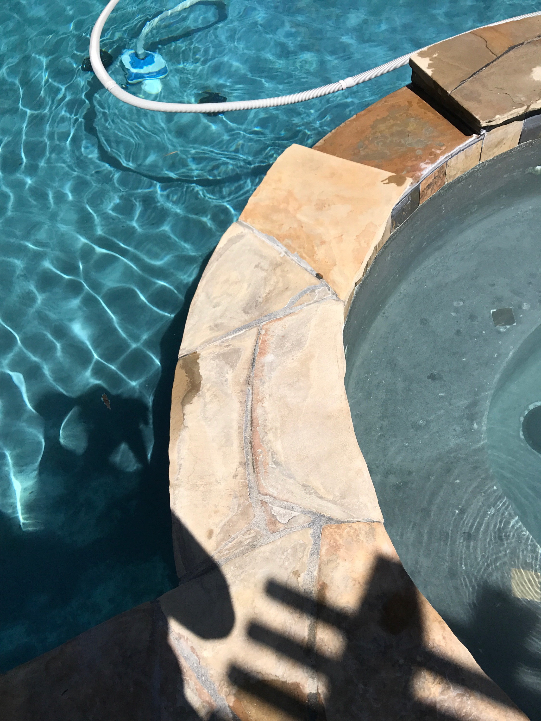 Flagstone pool repair