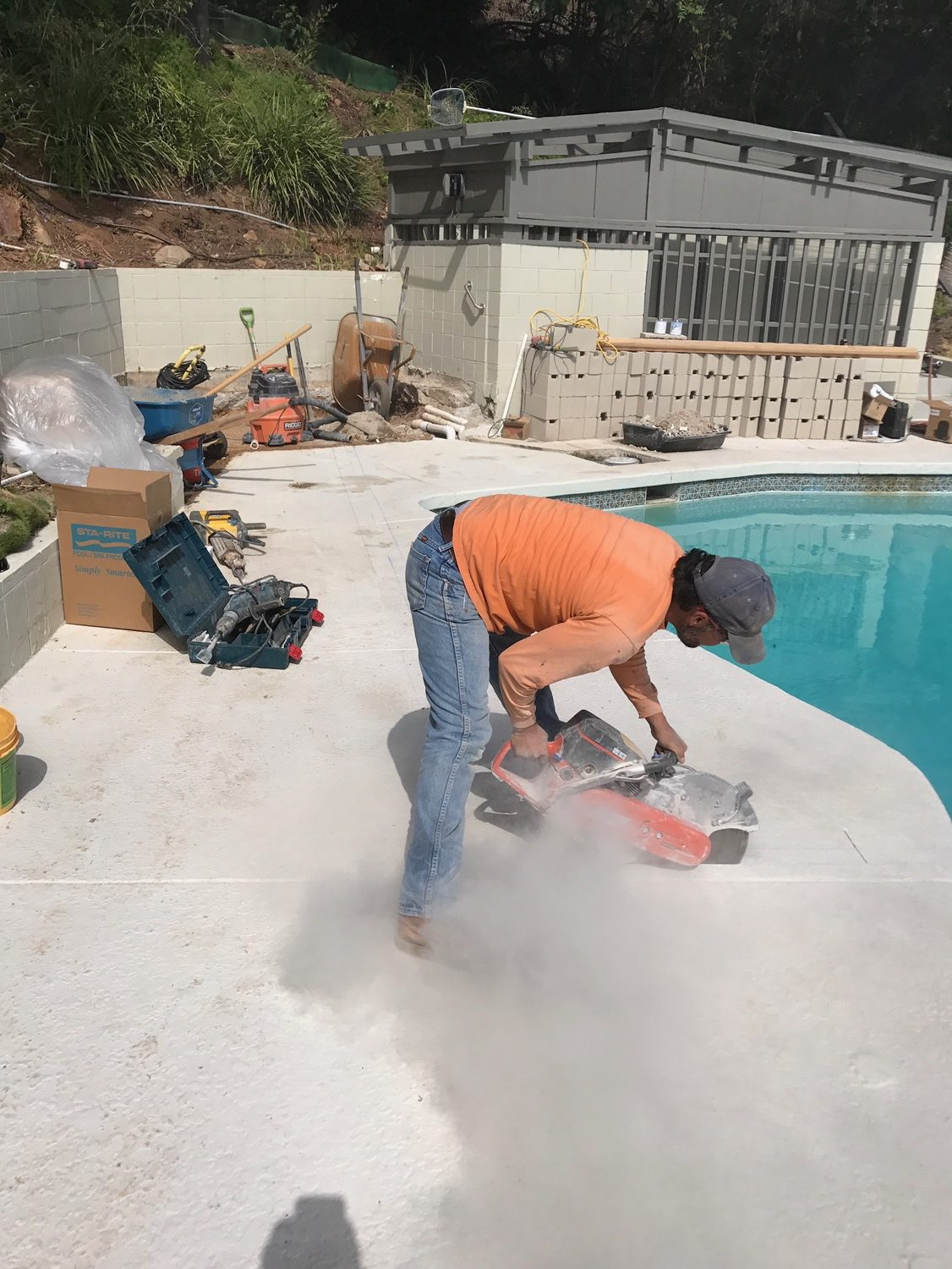 concrete pool skimmer replacement